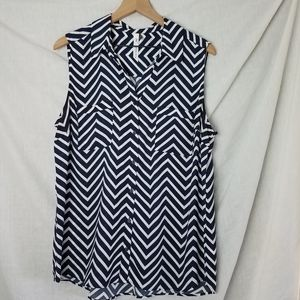 NY Collection Sleeveless Button Down Blouse XL